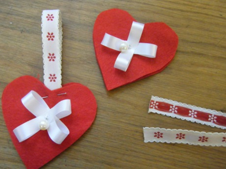 Red heart felt decorations