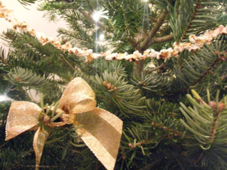 Popcorn and gold ribbon on tree