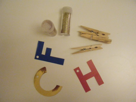 Initials and glitter clothespins