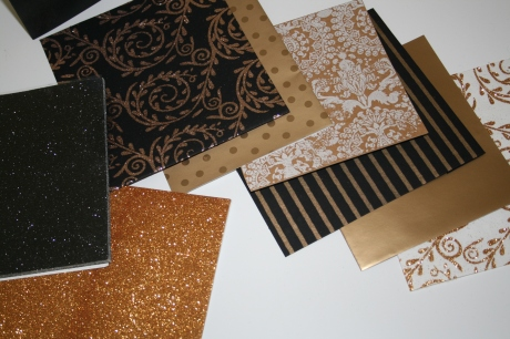 Glittering card and paper