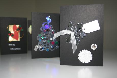 Three handmade Christmas cards