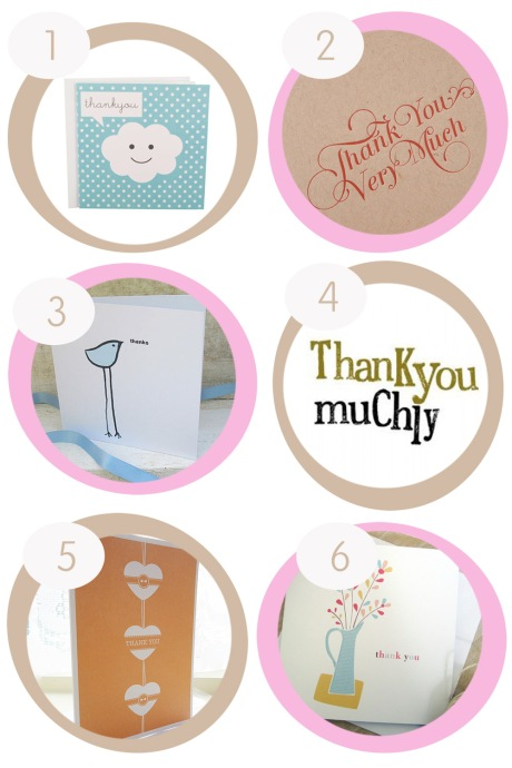 Six Thank You cards