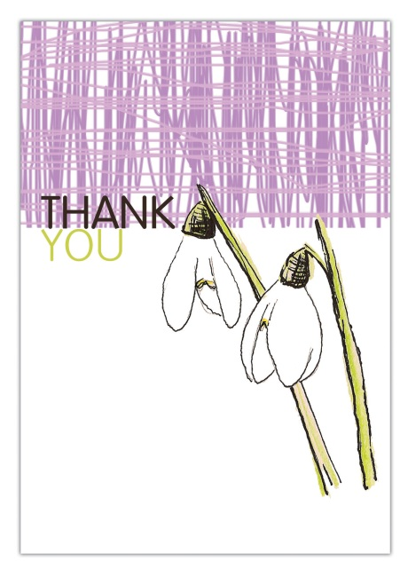 Snowdrop Thank you card to print free download