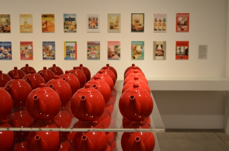 Red Teapots and vintage magazines.