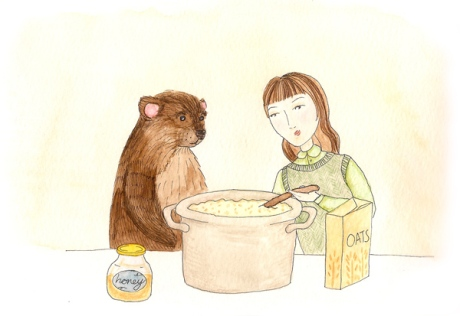 Girl and Bear Eating Porridge
