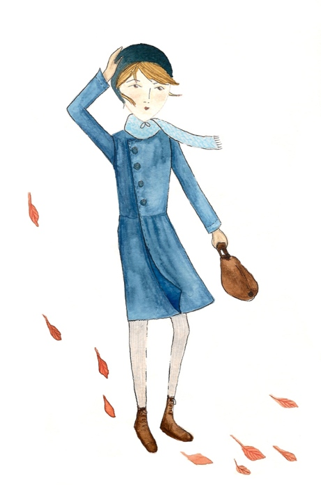 Girl in the Autumn Wind