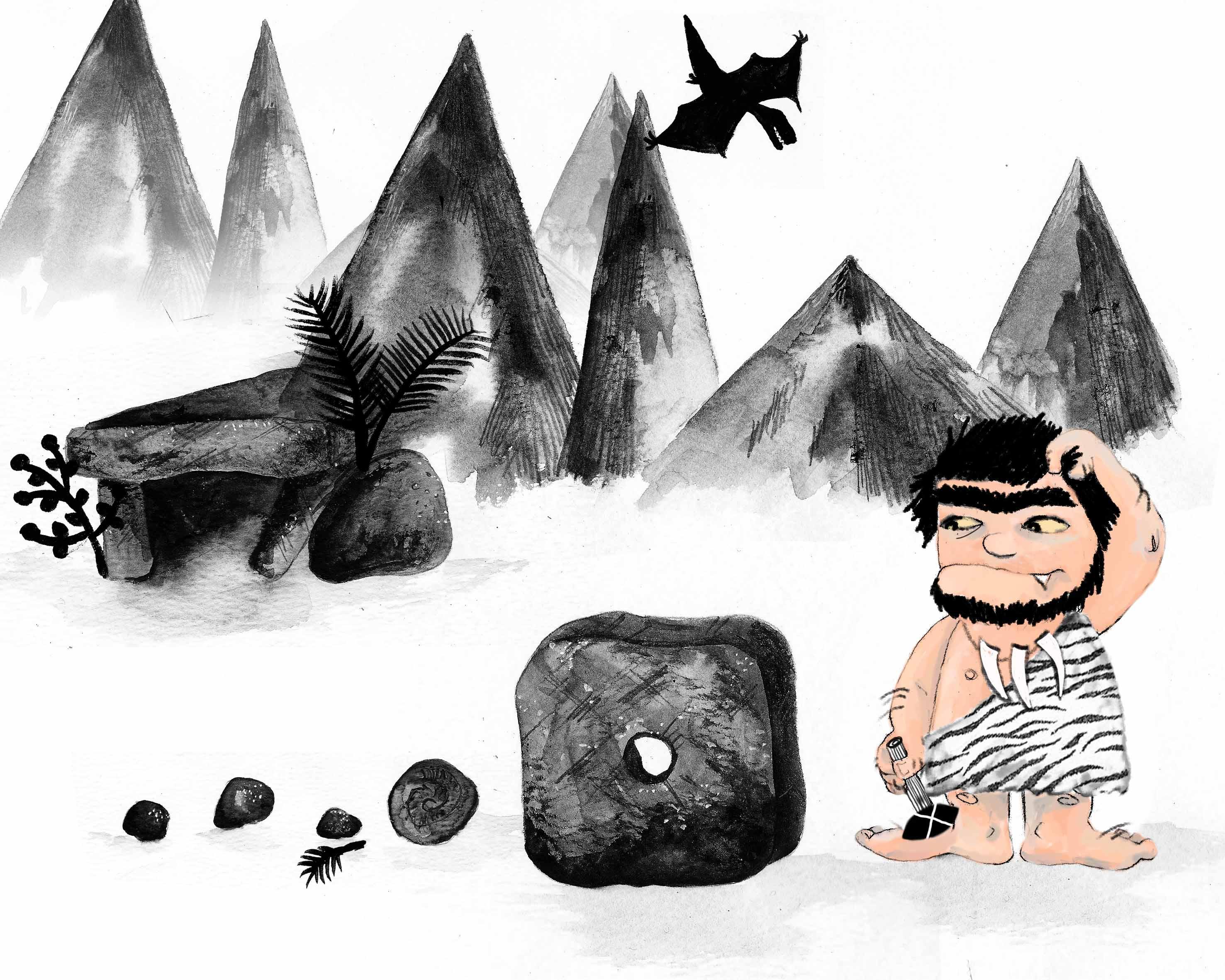 Caveman and Wheel Illustration