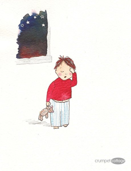 Watercolour illustration of tired little boy.